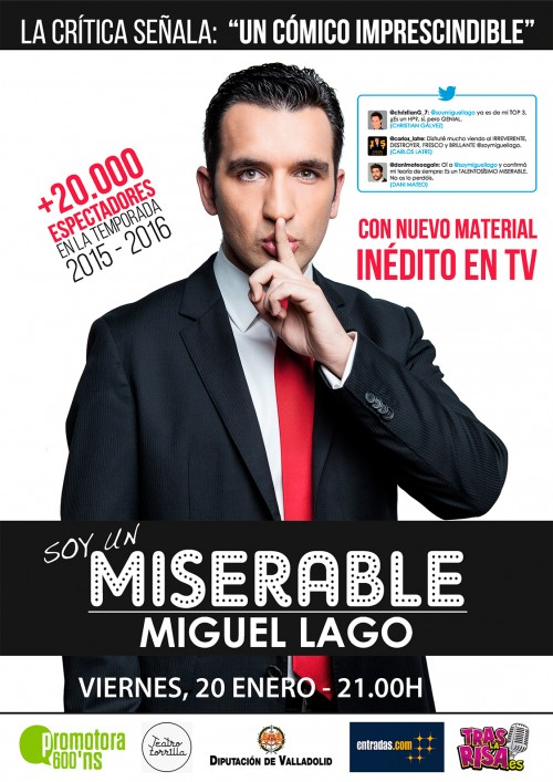 Cartel SOY UN MISERABLE en el Ciclo de Comedia Valladolid
